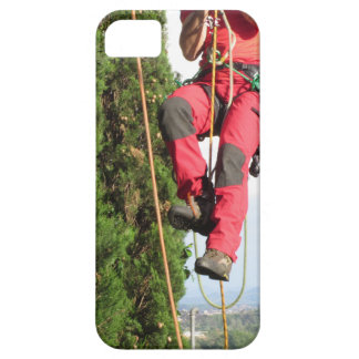 Tree surgeon lumberjack hanging from a big tree barely there iPhone 5 case