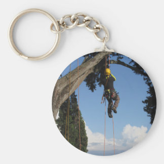 Tree surgeon lumberjack hanging from a big tree key ring