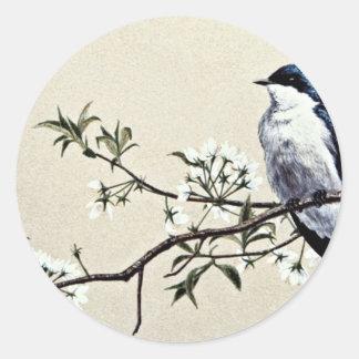 Tree swallow  flowers classic round sticker