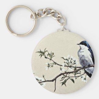Tree swallow  flowers key ring