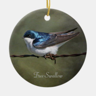 Tree Swallow Round Ceramic Ornament