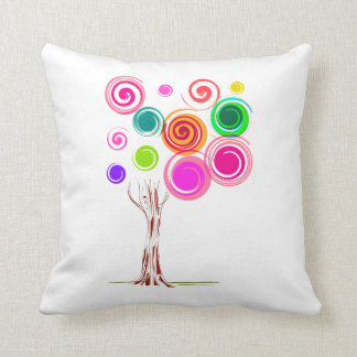 tree swirly foliage colourful cushion
