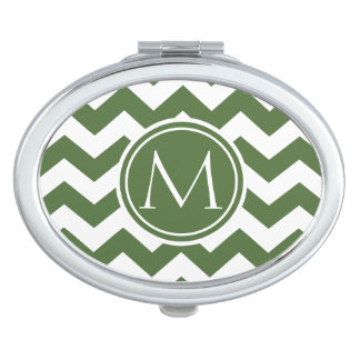 Tree Top Chevron Monogrammed Travel Mirrors