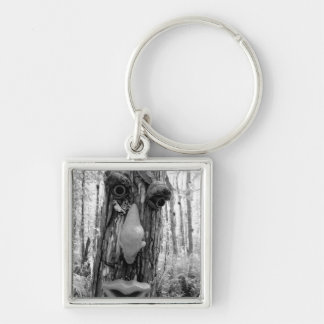 Tree troll on a Big Cypress tree. Silver-Colored Square Key Ring