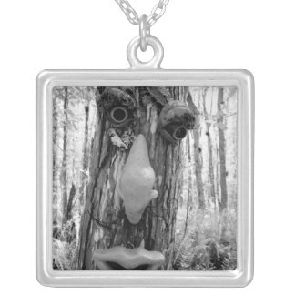 Tree troll on a Big Cypress tree. Square Pendant Necklace