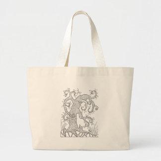 Tree Two Line Art Design Large Tote Bag