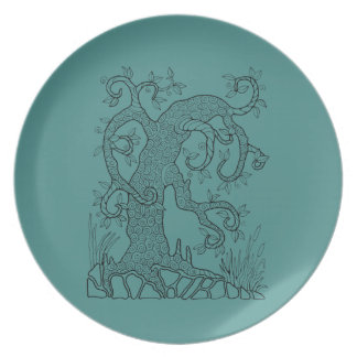 Tree Two Line Art Design Party Plates