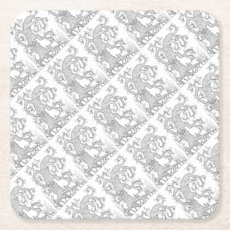 Tree Two Line Art Design Square Paper Coaster