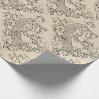 Tree Two Line Art Design Wrapping Paper
