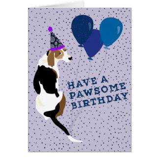 Tree Walker Coonhound Pawsome Birthday Card