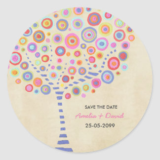 Tree Wedding Name Save the Date Label Sticker