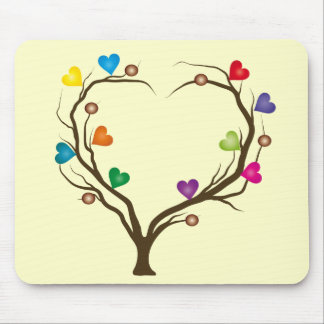 tree with bright hearts mouse pad