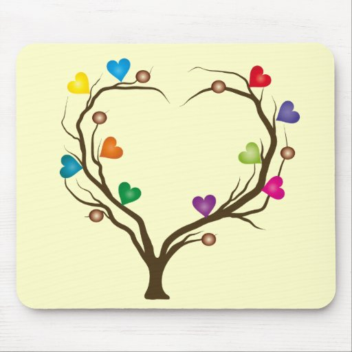 tree with bright hearts mousemats