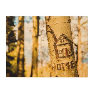 Tree with cut HOME motive Wood Prints