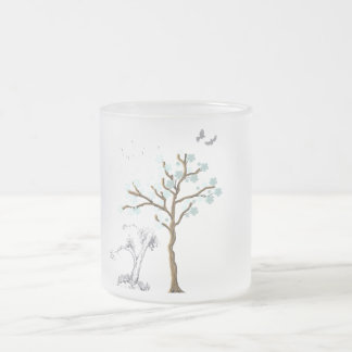 Tree with Flowers on Blue Background Frosted Glass Mug
