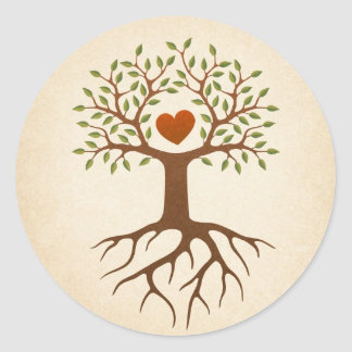 Tree with heart and roots classic round sticker