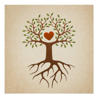 Tree with heart and roots poster
