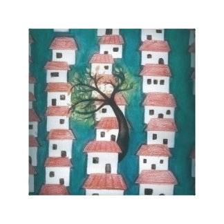 Tree with Houses Canvas Print