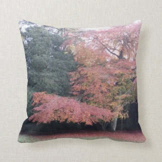 Tree with pink leaves autumn colours cushion
