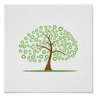 tree with recycle for leaves eco design.png poster