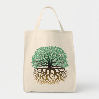 Tree with roots grocery tote
