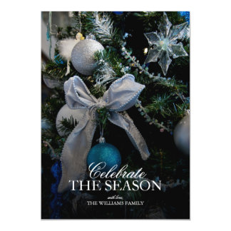 Tree with silver ribbon and blue ornament 13 cm x 18 cm invitation card