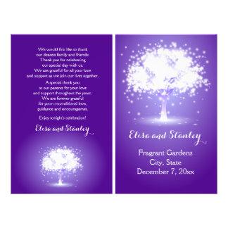 "Tree with sparkling lights purple wedding program 8.5"" x 11"" flyer"