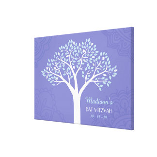 TREE WITH STARS Bar Mitzvah Memory Sign-In Board Canvas Print