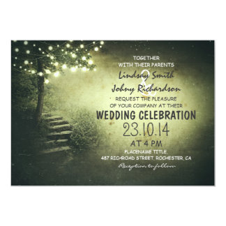 tree with string lights green rustic wedding card
