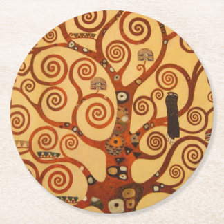 Tree with Swirling Branches Round Paper Coaster