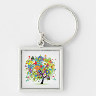 Tree With Things In Nature Key Ring