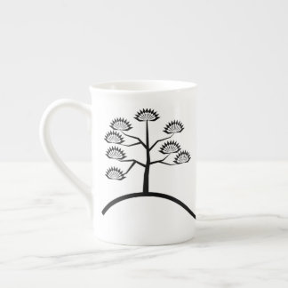 Tree with Vines Basic Black Design Bone China Mug