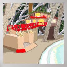 Treehouse on The Sea Shore Print