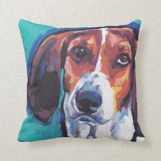 treeing walker coonhound Bright Colorful Pop  Art Cushion