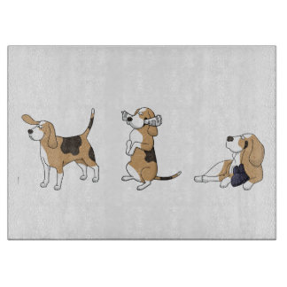 treeing walker coonhound cartoon 2 cutting board