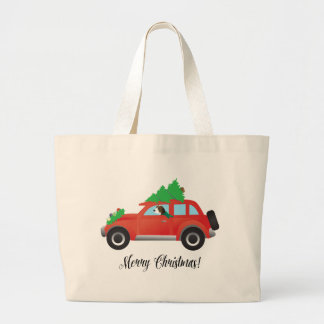 Treeing Walker Coonhound Driving a Christmas Car Jumbo Tote Bag