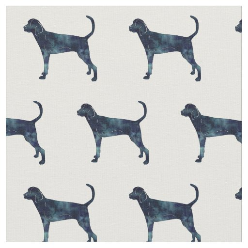 Treeing Walker Coonhound Silhouette Tiled - Black Fabric
