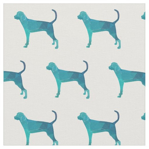 Treeing Walker Coonhound Silhouette Tiled - Green Fabric