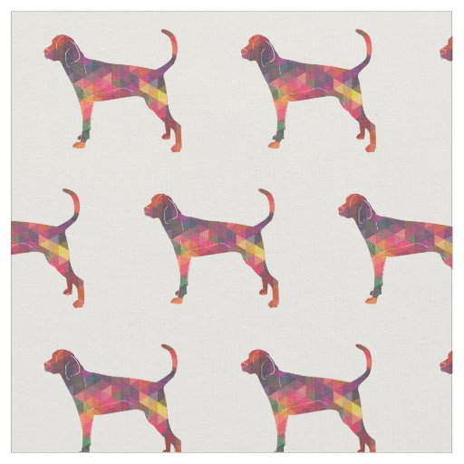 Treeing Walker Coonhound Silhouette Tiled - Multi Fabric