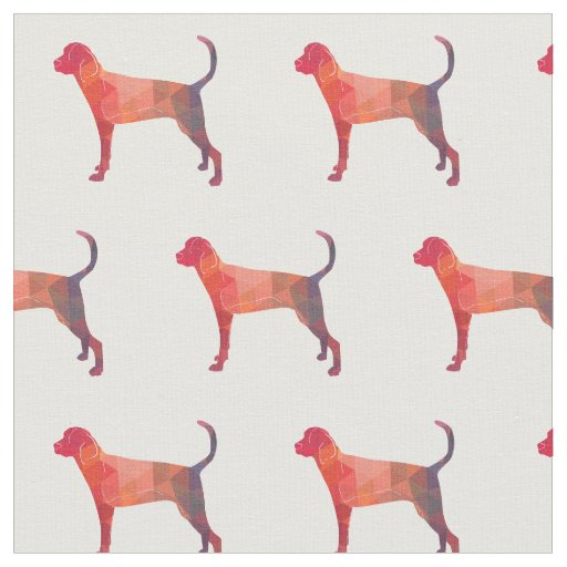 Treeing Walker Coonhound Silhouette Tiled - Orange Fabric