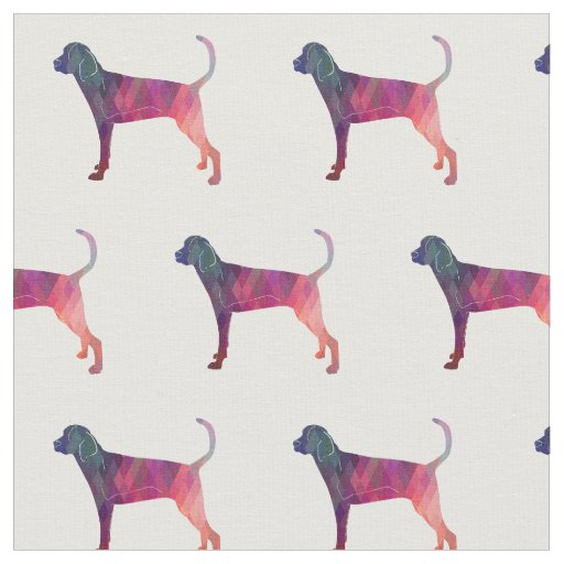 Treeing Walker Coonhound Silhouette Tiled - Pink Fabric
