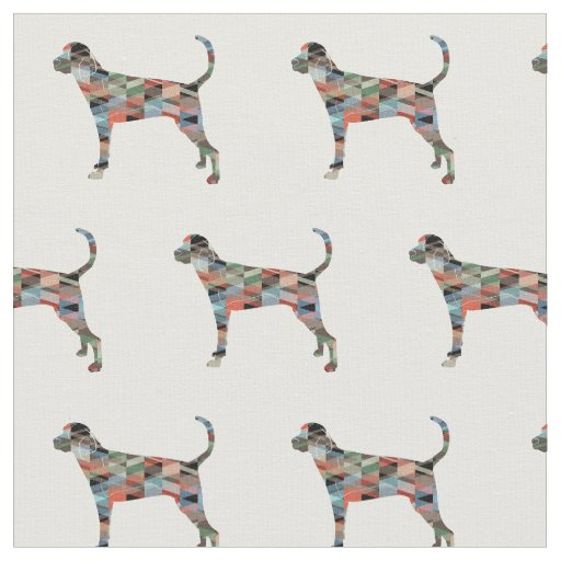 Treeing Walker Coonhound Silhouette Tiled - Plaid Fabric