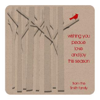 Trees and Cardinal Eco-Friendly Flat Kraft Card 13 Cm X 13 Cm Square Invitation Card