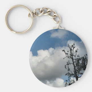 Trees and Clouds Basic Round Button Key Ring