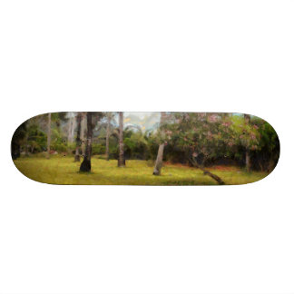 Trees and grass skate board