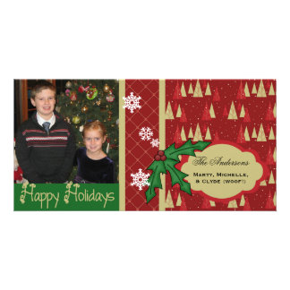 Trees and Holly Christmas Holiday Photo Card
