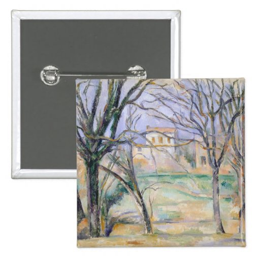 Trees and houses, 1885-86 pinback buttons