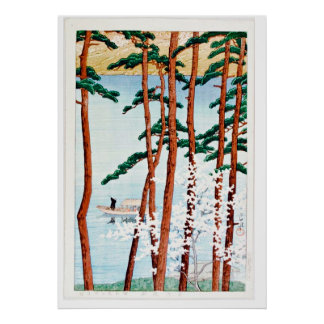 Trees and Lake Scene Ukiyo–e Poster