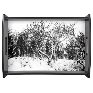 Trees and Snow Scene, Black and White Serving Tray