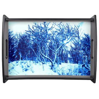 Trees and Snow Scene, Cobalt Blue Serving Tray